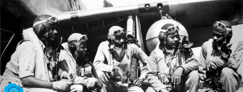 "Pilots of the 332nd Fighter Group, ""Tuskegee Airmen,"" the elite, all-African American 332nd Fighter Group at Ramitelli, Italy., from left to right, Lt. Dempsey W. Morgran, Lt. Carroll S. Woods, Lt. Robert H. Nelron, Jr., Capt. Andrew D. Turner, and Lt. Clarence P. Lester. (U.S. Air Force photo)"