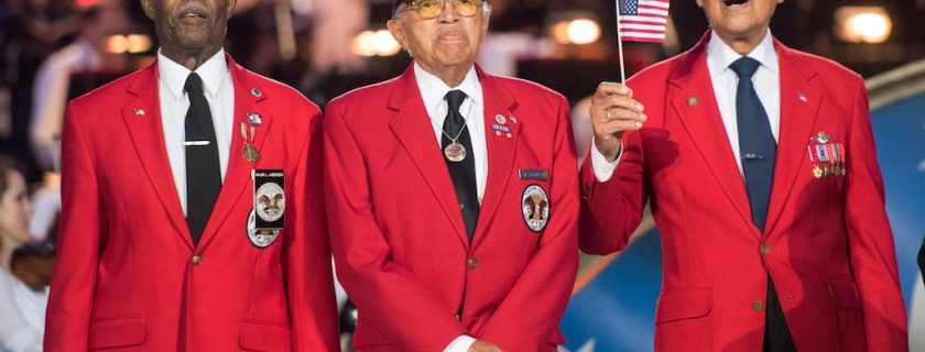 J9Y5MA The last of the Tuskegee Airmen veterans on stage during the National Memorial Day Concert at the U.S. Capitol  (photo by Dominique A. Pineiro /DoD via Planetpix)