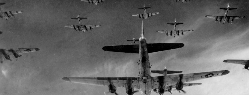 Actual wartime photo shows B-17s on a mission over Germany in WWII. (Photo courtesy of the National Museum of the Mighty Eighth Air Force)