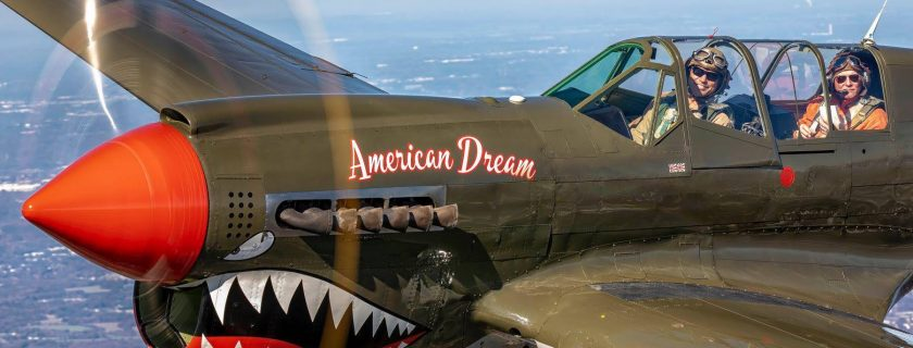 This aircraft is based upon the remains of P-40N 42-104977, a WWII combat veteran which then-1st Lt. Joel Dixon Thorvaldson flew over New Guinea with the 8th Fighter Squadron's Blacksheep in the 49th Fighter Group, 5th Air Force.
