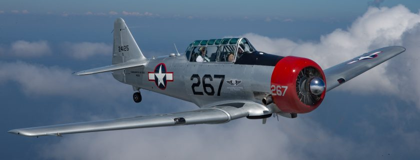 A restored WWII  AT-6 trainer plane, Nella, was used to train women pilots in the 1940s and now tours the country to honor the women who served in the Women Airforce Service Pilot (WASP) organization. The aircraft and a new video featuring the WASP will be part of the 2019 WWII Heritage Days in Peachtree City, April 27-28. (photo courtesy of the CAF WASP Squadron)