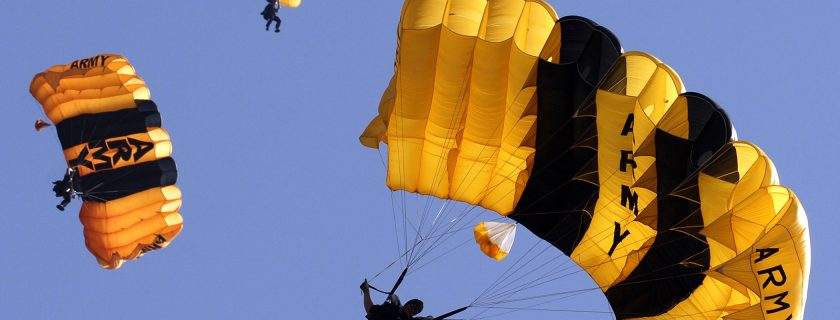 The U.S. Army Golden Knights Parachute Team competes in the accuracy competition at the 4th Conseil Internationale du Sport Militaireís (CISM) Military World Games in Hyderabad, India, Oct. 14, 2007.  The CISM Military World Games is the largest international military Olympic-style event in the world. (U.S. Air Force photo by Master Sgt. Glenda S. Lynchard) (Released)