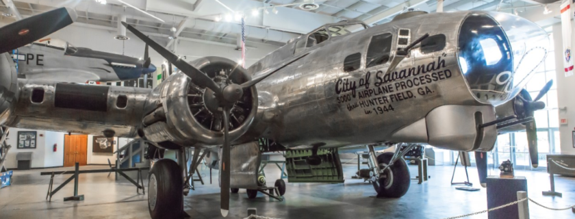 A B-17 is the centerpiece of the National Museum of the Mighty Eighth Air Force in Savannah, Ga., The Museum will have a fascinating display at World War II Heritage Days May 2-3 in Peachtree City, Ga.